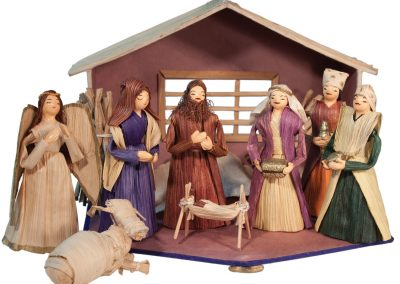 Cornhusk nativity made in Nepal. Set of 8